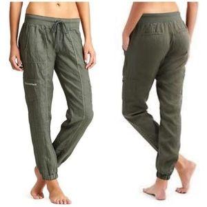 Athleta Olive Army Green Linen Jogger Pants